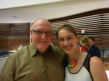 "With pianist Andrea Lodge, who performed on the premiere of ""224 slices of pi"" in June 2015"