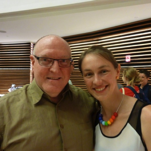"With pianist Andrea Lodge, who performed on the premiere of ""224 slices of pi""  (June 2015)"