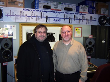 With producer Phil Ramone during my management days at Guitar Center Manhattan in December 2003.