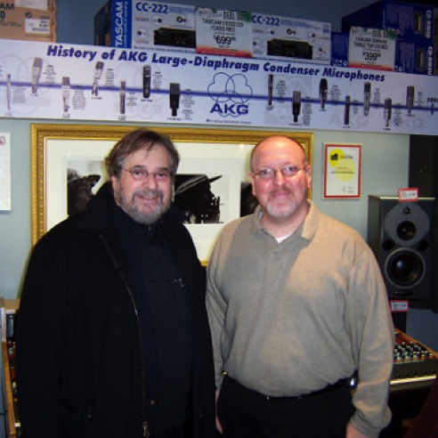 With producer Phil Ramone during my management days at Guitar Center Manhattan (December 2003)