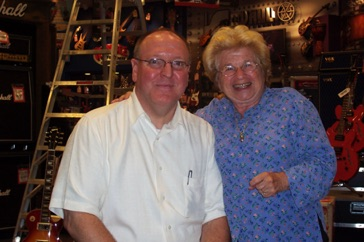 With Dr. Ruth during my management days at Guitar Center Manhattan in July 2004.