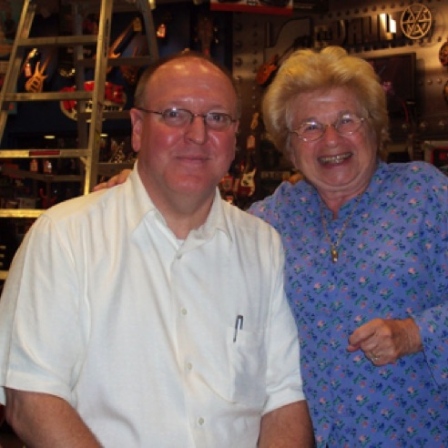 With Dr. Ruth during my management days at Guitar Center Manhattan (July 2004)