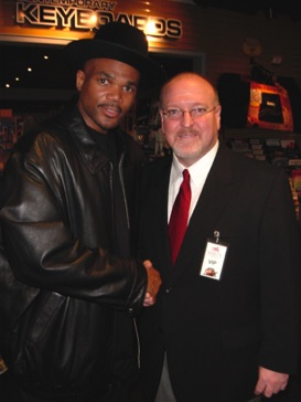 "With Darryl ""D.M.C."" McDaniels during the grand opening of Guitar Center Manhattan in December 2003."