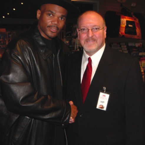 "With Darryl ""D.M.C."" McDaniels during the grand opening of Guitar Center Manhattan  (December 2003)"