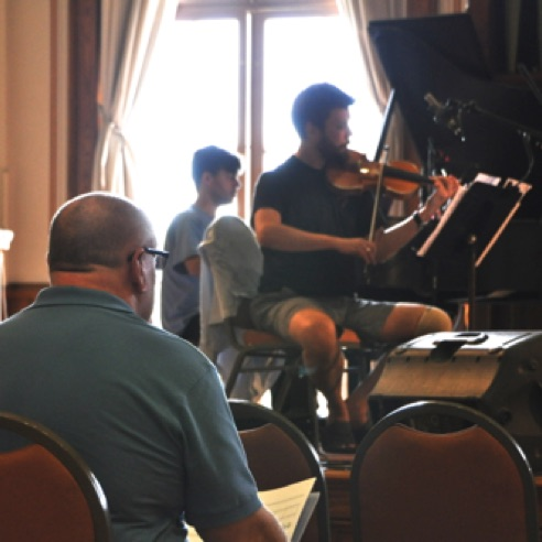 "During a rehearsal of ""Divinitus"" at Vermont College of Fine Arts (August 2013)"