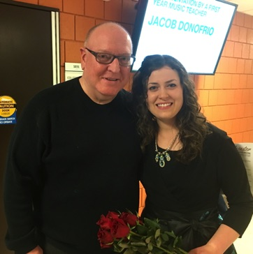 "With soprano/composer Emily Custer following the premiere of ""Stopping by Woods…"" Feb 2016 in Bowling Green, Ohio."