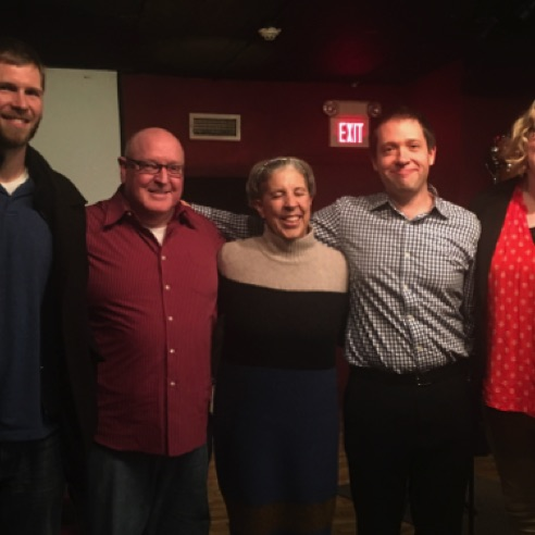 Art Made Audible composers Andy Wilds, Timothy Miller, David Janssen and Allie McIntosh with artist Jan Arabas (center)  (Dec 7, 2017)
