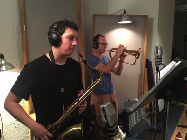 Chris Bittner-tenor sax and Jason Prover-flugelhorn at Swinney Recording in New York on September 14, 2017