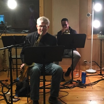 Dave Finucane-tenor sax and Brandon Lee-trumpet at Ovation Sound in Winston-Salem, NC in May 2016