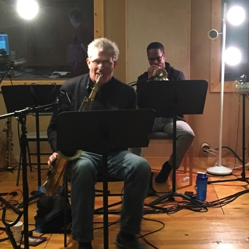 Dave Finucane-tenor sax and Brandon Lee-trumpet at Ovation Sound in Winston-Salem, NC (May 2016)