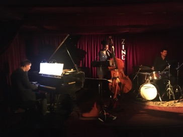Performance of jazz trios by Thomas Linger, End Owens & Chales Goold at Zinc Bar in NYC November 8, 2017