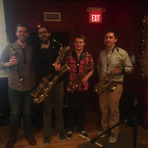 Art Made Audible sax quartet Andy Wilds, Sean Mix, Bennett Parsons, Morgan Smallwood at the Lilypad in Cambridge, MA (Dec 7, 2017)
