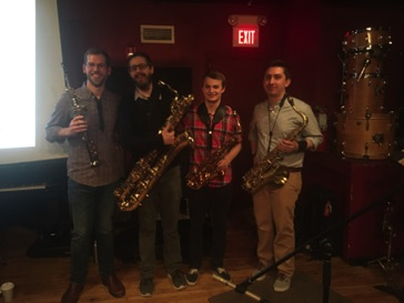 Art Made Audible sax quartet Andy Wilds, Sean Mix, Bennett Parsons, Morgan Smallwood at the Lilypad Dec 7, 2017