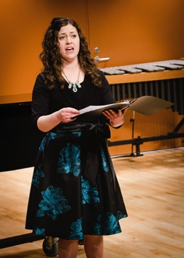 "Soprano Emily Custer performing ""Stopping by Woods on a Snowy Evening"" during her recital at BGSU February 28, 2016"