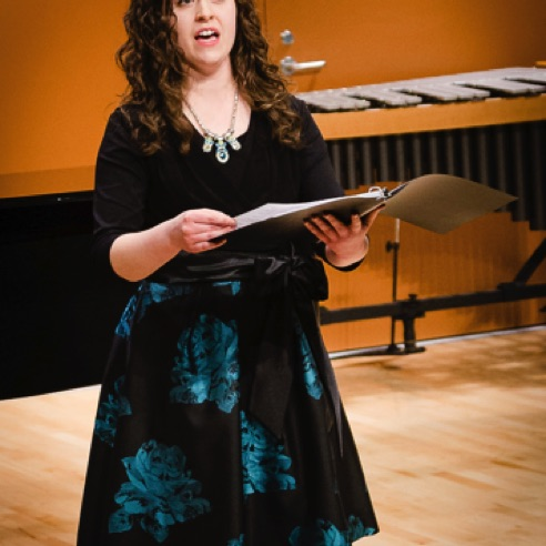 "Soprano Emily Custer performing ""Stopping by Woods on a Snowy Evening"" during her recital at BGSU (February 28, 2016)"