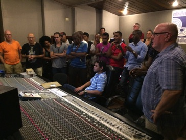 Listening to the playback of 'Hot Miami Nights' with the whole band, fellow composers and Parma executives in Havana