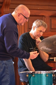 Conferring with drummer Scott Neumann at Vermont College in February 2013.