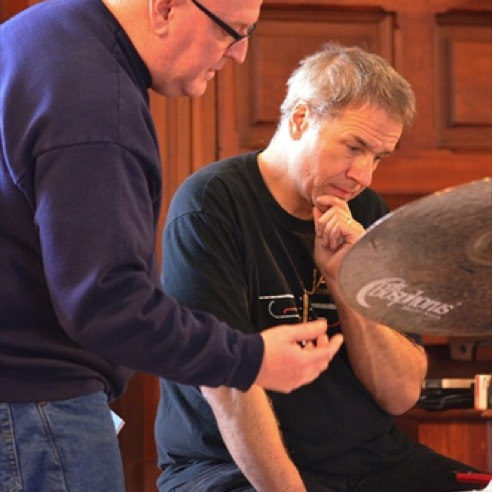 Conferring with drummer Scott Neumann at Vermont College (February 2013)