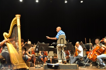 A rehearsal of the National Symphony Orchestra of Cuba conducted by a local composer November 2015.
