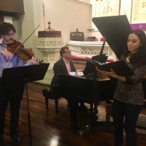 "Soprano Lauren Ishida, pianist Chris Sahar and violist Artie Dibble rehearsing ""The Bird Lady"" prior to the premiere (Feb 27, 2018)"